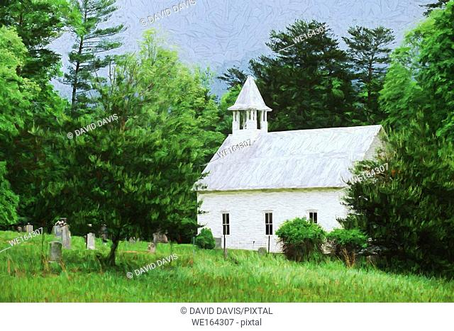 Impressionist art of the Methodist Church in Cades Cove, Great Smoky Mountains National Park, Tennessee USA
