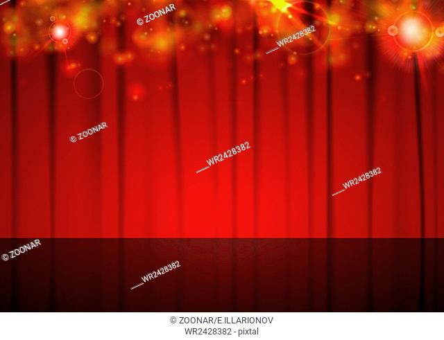 Background with red curtain and shiny lights