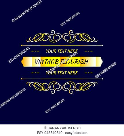 Vector Flourish Frame Template, Golden Border on Dark Blue Background, Vintage Decor