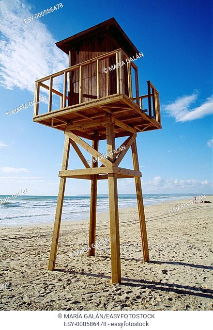 Sentry post on the beach. Zahara de los Atunes, Cádiz province, Andalusia, Spain