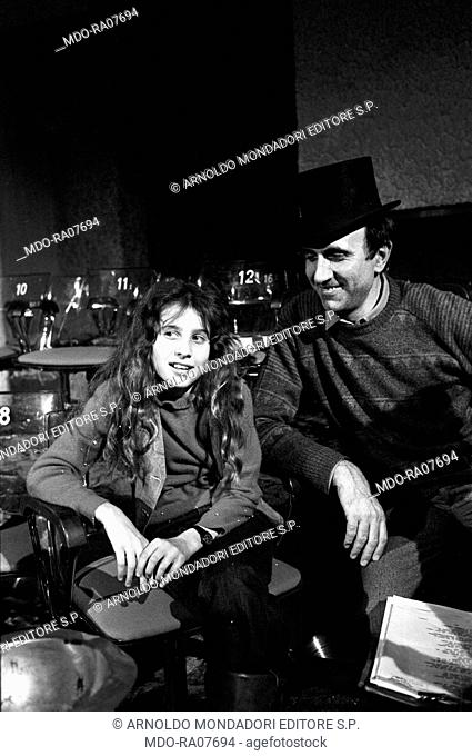 Italian TV host Pippo Baudo (Giuseppe Raimondo Vittorio Baudo) sitting with his daughter Tiziana during the break of TV show 'Domenica in'