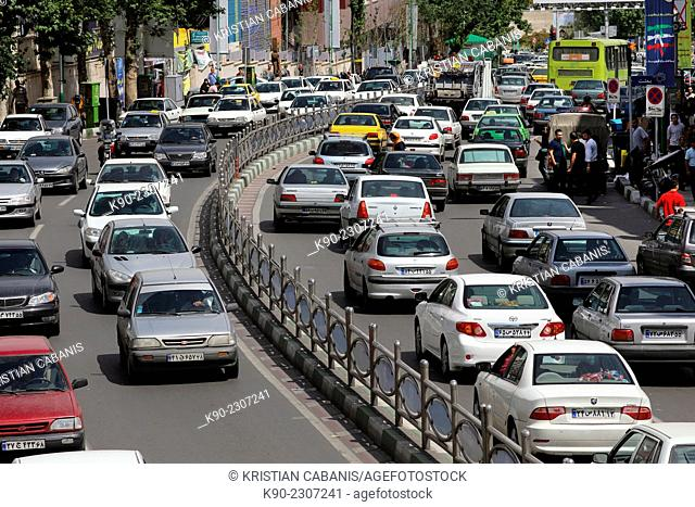 Heavy traffic at Tajrish Square, Tehran, Iran, Asia