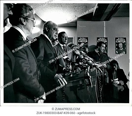 Mar. 03, 1980 - Carter Mondale Campaign Hdqtrs. New York City: Robert Strauss Held a News conference today after meeting with Jewish Leaders in his attempt to...