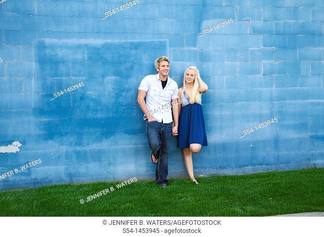 A young couple together outdoors in Spokane, Washington, USA