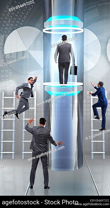 The businessmen in accelerated and fast promotion concept