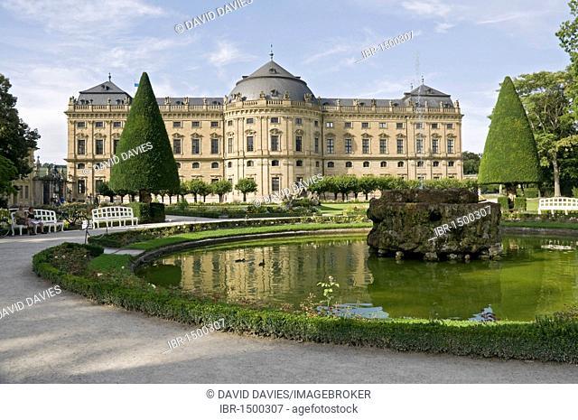 Residence and Hofgarten Park, Wuerzburg, Lower Franconia, Bavaria, Germany, Europe