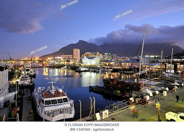 View of the Waterkant district at night with Table Mountain, V & A Waterfront, Cape Town, South Africa, Africa