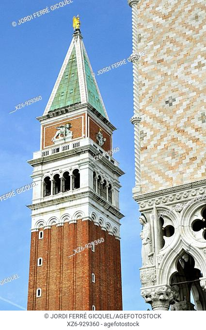 Detail of Ducale Palace and St  Mark Bell Tower in background  St  Mark's square, Venice, Italy, Europe, UNESCO World Heritage