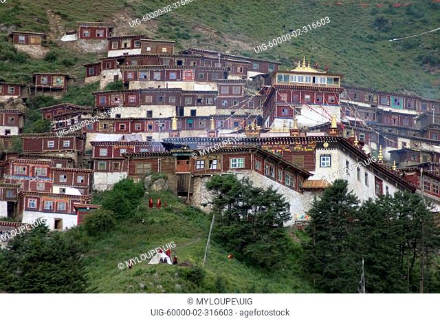 Katok Dorjeden Monastery, first Nyingma Gompa founded in 1159 AD - Kham, Eastern Tibet, Sichuan Province, China