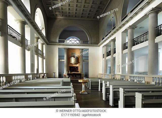 Germany, Neumuenster, Schleswig-Holstein, church Saint Vicelin, evangelic church, classicism, interior view, choir, altar, baptismal font