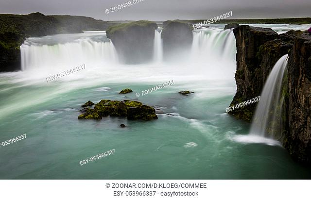 Godafoss Waterfall and river on Iceland with dark sky
