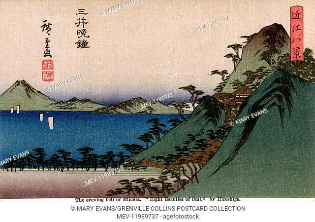 The Evening bell of Miidera (Mii no bansho) from The Eight Views of Omi - woodblock print by Utagawa Hiroshige (1797-1958), a Japanese ukiyo-e artist