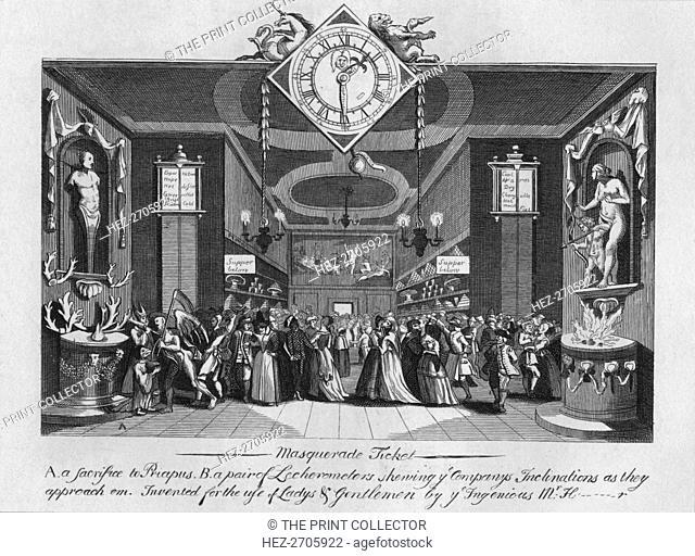 'Masquerade Ticket', 1727, (1827). Creator: Unknown