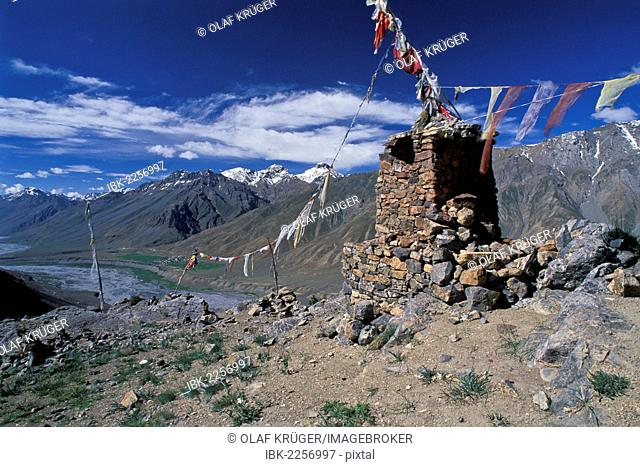 Prayer flags, view across the Spiti Valley, near Ki or Key, Lahaul and Spiti district, Himachal Pradesh, Indian Himalayas, North India, India, Asia