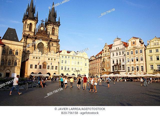 Tyn church in Staromestske Namesti (Old Town Square), Prague, Czech Republic