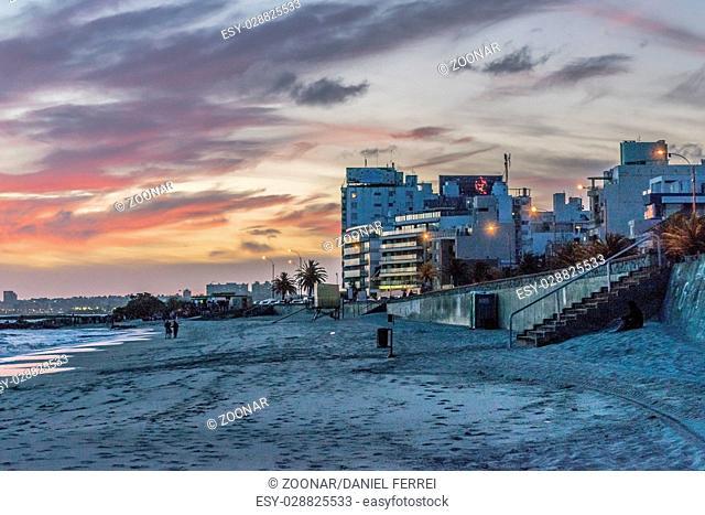Sunset Scene at Beach Montevideo Uruguay
