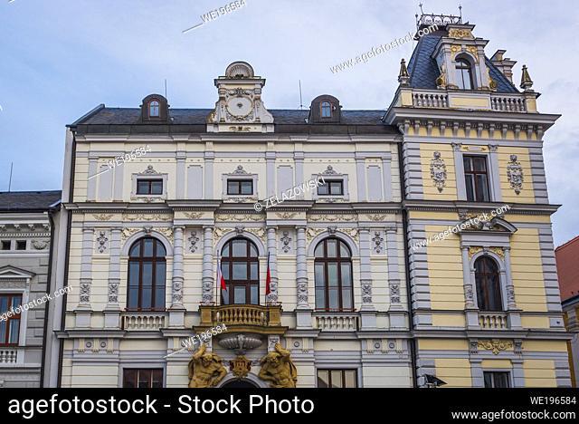 Town Hall on the Masaryk Square in Uherske Hradiste city in Zlin Region, Moravia in Czech Republic