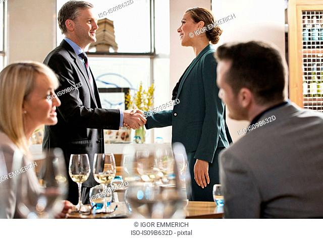 Businessmen and businesswomen at lunch in restaurant
