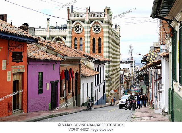 Bogota, Colombia - January 27, 2017: Looking down one of the streets in the La Candelaria district in the capital city of Bogota in the South American country...