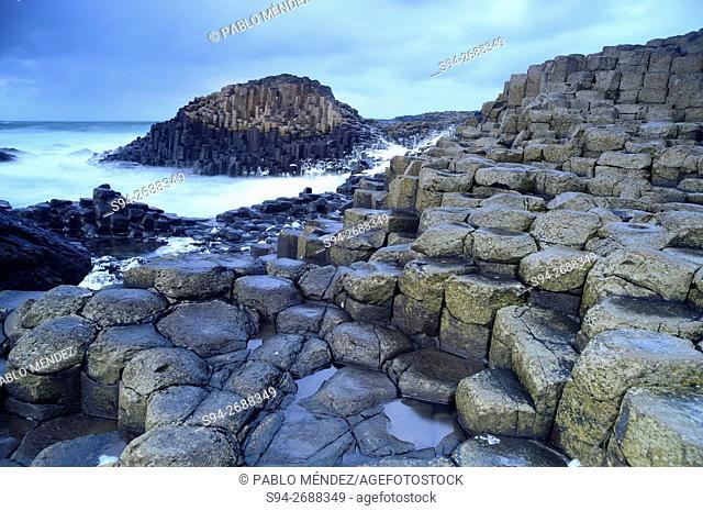 Coastal landscape of Giant's Caudeway, Antrim county, Northern Ireland