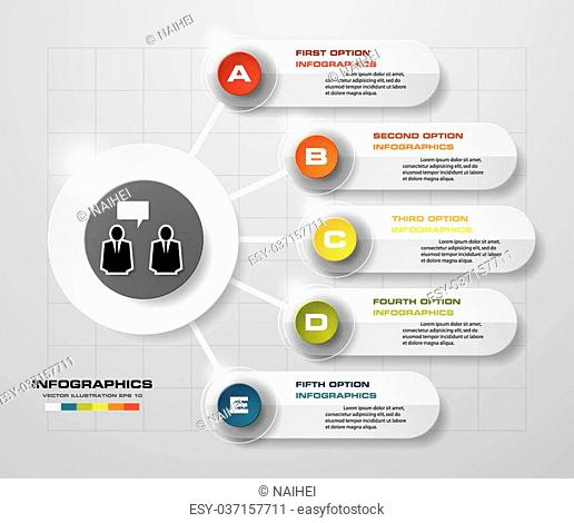 Simple&Editable 5 Steps chart diagrams template/graphic or website layout. Vector
