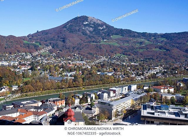 View from the Fortress Hohensalzburg to Salzburg, in the background Gaisberg mountain, UNESCO Worl Heritage Site, Salzburger Land, Austria, Europe