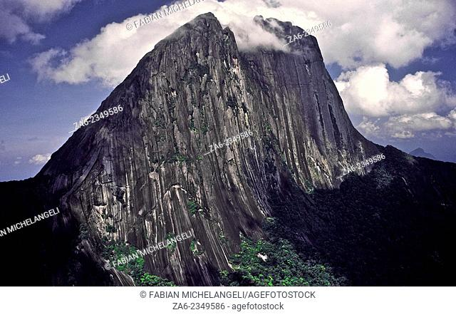 Aerial view of the yet unclimbed Eastern wall of Cerro Aratitiyope. exceeding one thousand meters high. The mountai rises one thousand six hundred meters over...