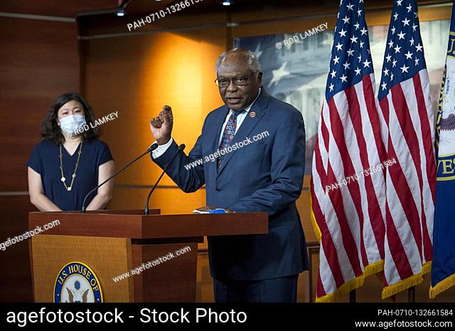 House Rep. James Clyburn (D-SC) offers remarks as he joins House Speaker Nancy Pelosi (D-Calif) and others during a press conference on the Trump...