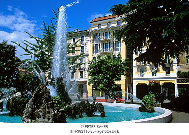 Fountain in the Swiss lakeside town and resort of Lugano
