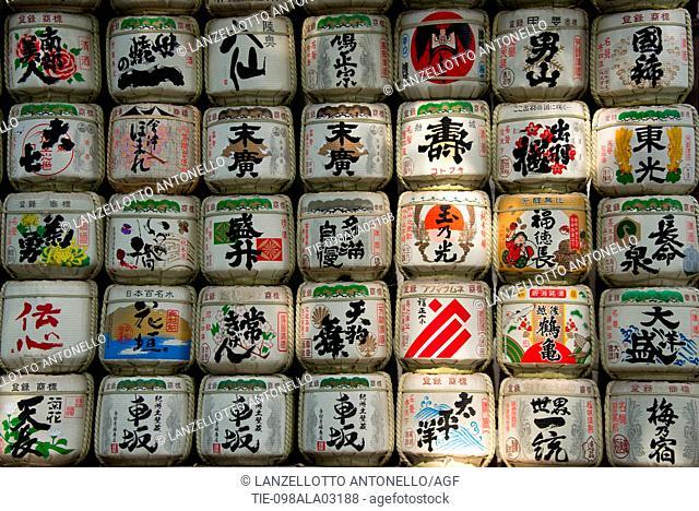 Asia, Japan, Tokyo, Meiji Shrine, sake barrel