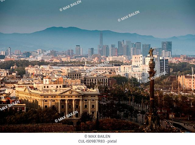Elevated cityscape and columbus monument, Barcelona, Spain