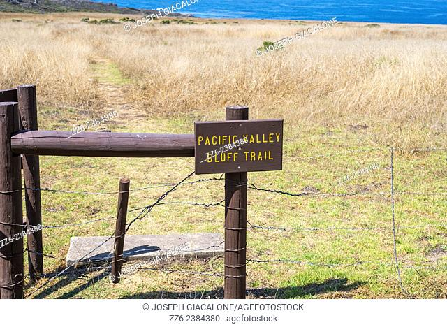 Pacific Valley Bluff Trail sign. Big Sur, California, United States