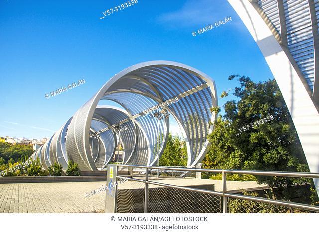Bridge by Perrault. Madrid Rio park, Madrid, Spain