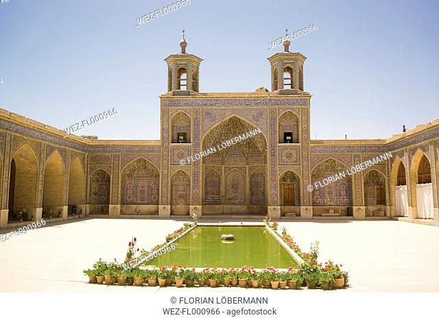 Iran, Shiraz, courtyard of Nasir al-Mulk Mosque