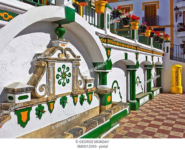 Colourful Fountain in the Main Square, Competa,