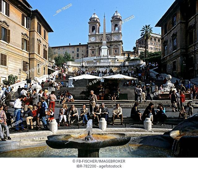 Spanish Steps, Piazza di Spagna, Fontana della Barcaccia fountain, Santa Trinita Church, Rome, Italy