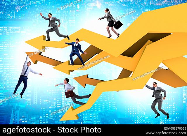 Businessman in the business chart concept
