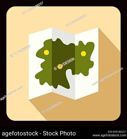 Road map icon in flat style with long shadow. Direction symbol vector illustration