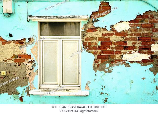 window and a ruined brick wall - Malpica de Bergantiños - Atlantic coast of Spain's - Galicia region