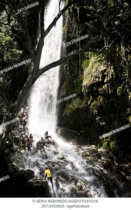 Voodoo Festival in Saut d'Eau, Haiti. Every July, thousands of Haitians are aimed at Saut d'Eau, a waterfall located 60 km north of Port au Prince