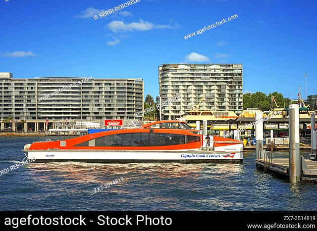 Captain Cook Cruises hop on hop off boat at Circular Quay main ferry terminal in Sydney city centre New South Wales Australia