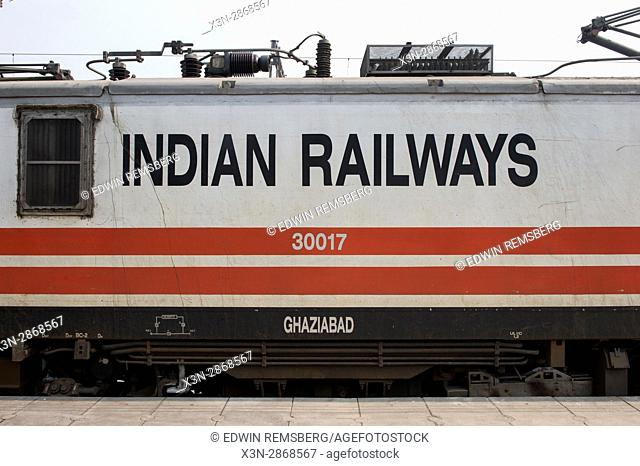 Indian Railway trains arrive at a train station in New Delhi. India