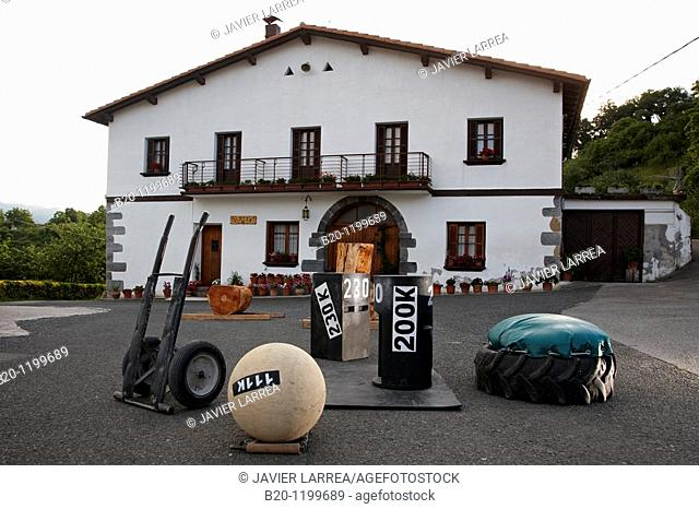 Aizkolari (wood-chopping) and Harrijasotzaile (stone lifting), Basque rural sports, Aduna, Gipuzkoa, Basque Country, Spain