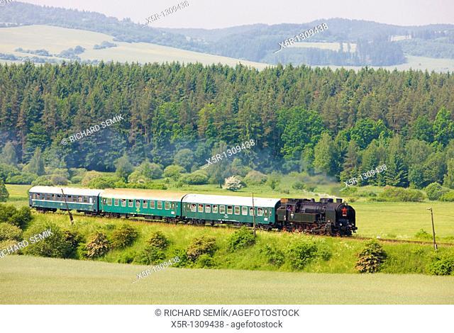 passenger train with steam locomotive 464 001, Slovakia