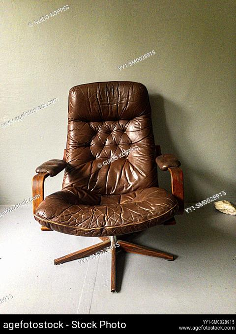 Tilburg, Netherlands. Vintage Leather Chair, made in the 1970's