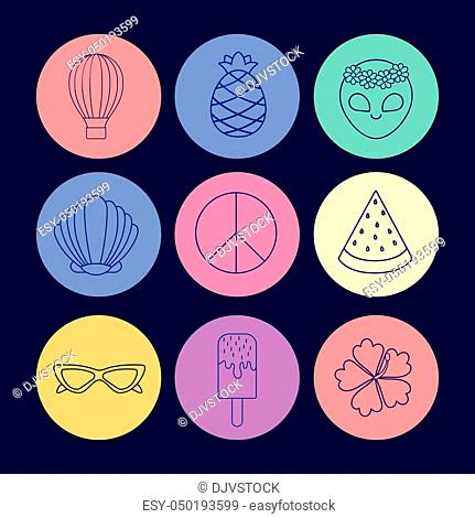 icon set of hot air balloon and cute concept over colorful circles and blue background, vector illustration