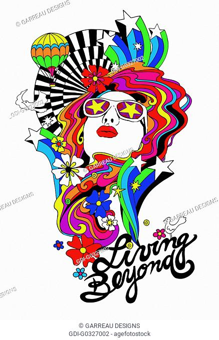 Psychedelic woman design