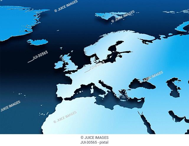 map, Western Europe, blue