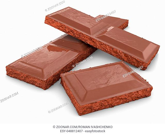 pieces of a chocolate bar. 3d rendering