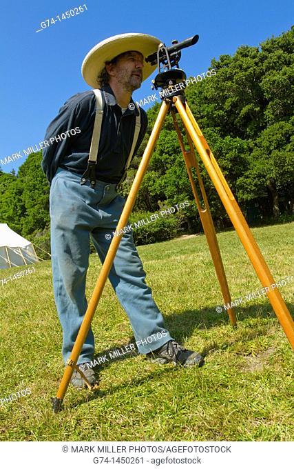 Civil War reenactor using transit to measure battlefield distance